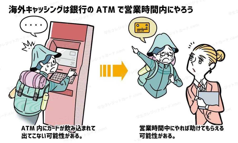 海外でのATM利用は、銀行で営業時間内にやるのが安心!