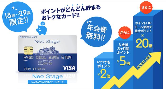しんきんVISAネオステージカードの基本スペック