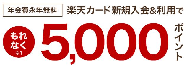 楽天カード新規入会&利用でもれなく5,000ポイント