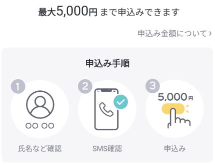 ポチっとチャージ初回は最大5,000円までの申込が可能